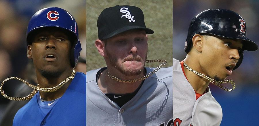 Baseball players wearing chains