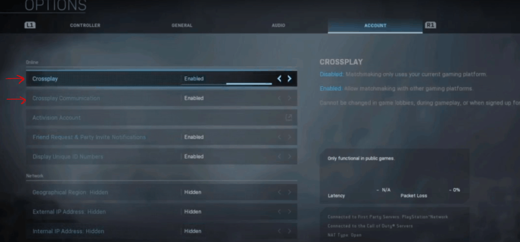 enable crossplay in warzone